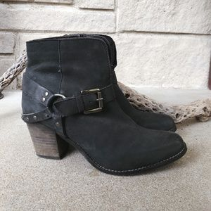 Black Leather Moto Buckle Ankle Boots, 8.5